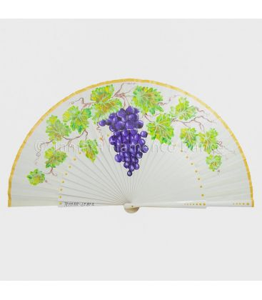 spanish fans - - Spanish Fan with grape vine hand painted
