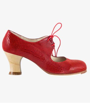 flamenco shoes professional for woman - Begoña Cervera - Cordonera red snake leather wood carrete heel