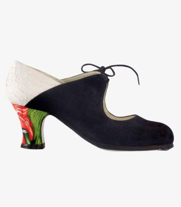 flamenco shoes professional for woman - Begoña Cervera - Arty black suede white snake leather painted heel