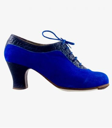 flamenco shoes professional for woman - Begoña Cervera - Ingles Coco indigo suede carrete heel