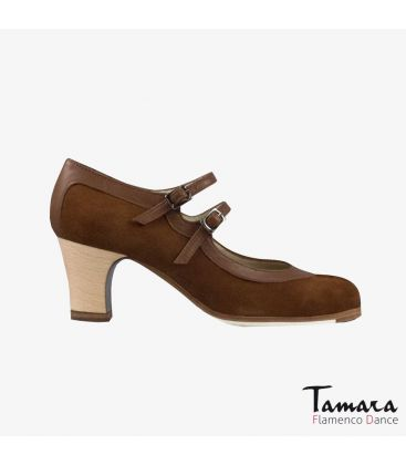 flamenco shoes professional for woman - Begoña Cervera - 2 Correas suede and leather brown classic wood