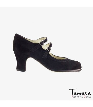 flamenco shoes professional for woman - Begoña Cervera - 2 Correas suede black carrete