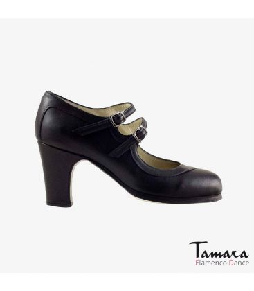 flamenco shoes professional for woman - Begoña Cervera - 2 Correas leather black classic 7cm