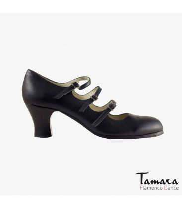flamenco shoes professional for woman - Begoña Cervera - 3 Correas leather black carrete
