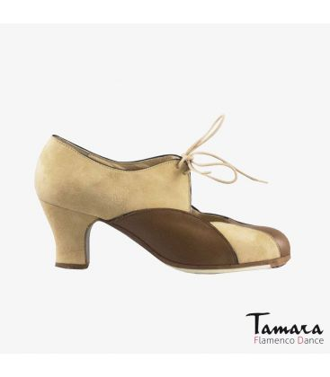 flamenco shoes professional for woman - Begoña Cervera - Acuarela Cordones suede camel and brown carrete