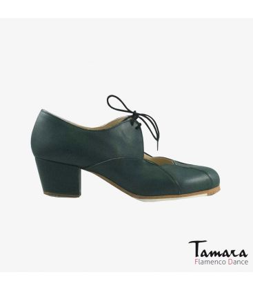 flamenco shoes professional for woman - Begoña Cervera - Acuarela Cordones leather dark green cubano
