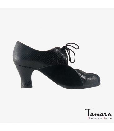flamenco shoes professional for woman - Begoña Cervera - Acuarela Cordones black patent leather carrete