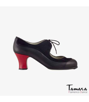 flamenco shoes professional for woman - Begoña Cervera - Angelito suede and leather black carrete