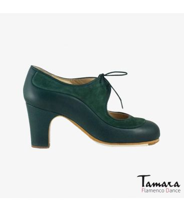 flamenco shoes professional for woman - Begoña Cervera - Angelito suede and leather dark green classic 7 cm