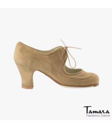 flamenco shoes professional for woman - Begoña Cervera - Angelito suede camel carrete