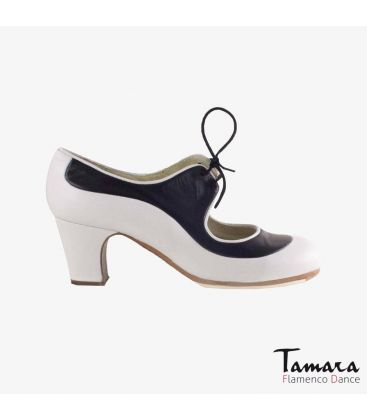 flamenco shoes professional for woman - Begoña Cervera - Angelito leather white and black classic