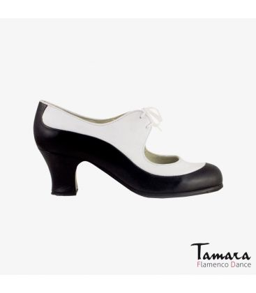 flamenco shoes professional for woman - Begoña Cervera - Angelito leather black and white carrete