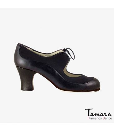 flamenco shoes professional for woman - Begoña Cervera - Angelito leather and suede black carrete