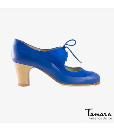 flamenco shoes professional for woman - Begoña Cervera - Angelito suede and leather indigo classic wood