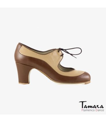 flamenco shoes professional for woman - Begoña Cervera - Angelito leather brown beige classic