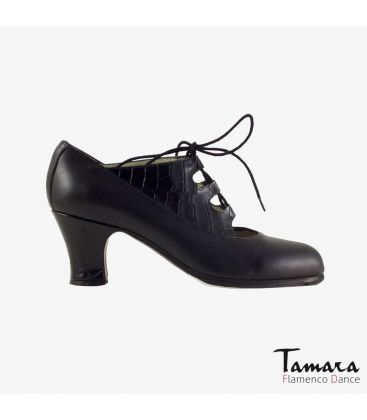 flamenco shoes professional for woman - Begoña Cervera - Antiguo leather alligator skin black carrete