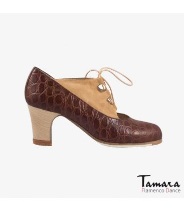 flamenco shoes professional for woman - Begoña Cervera - Antiguo alligator skin and suede brown beige classic wood
