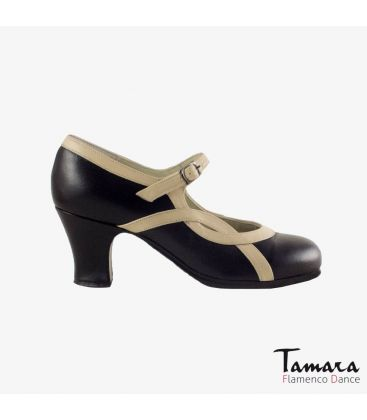 flamenco shoes professional for woman - Begoña Cervera - Arco I black beige leather carrete