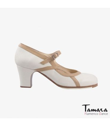 flamenco shoes professional for woman - Begoña Cervera - Arco I camel and chino leather classic