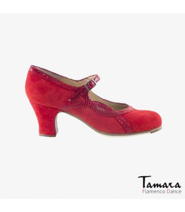 flamenco shoes professional for woman - Begoña Cervera - Arco I suede and snakeskin red carrete