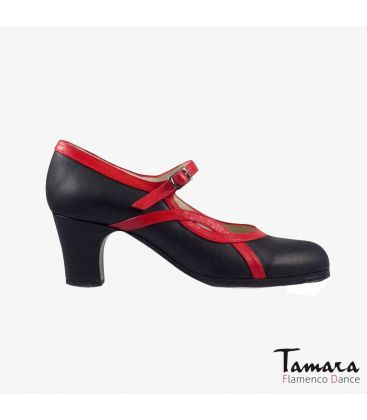 flamenco shoes professional for woman - Begoña Cervera - Arco I leather black and red classic heel
