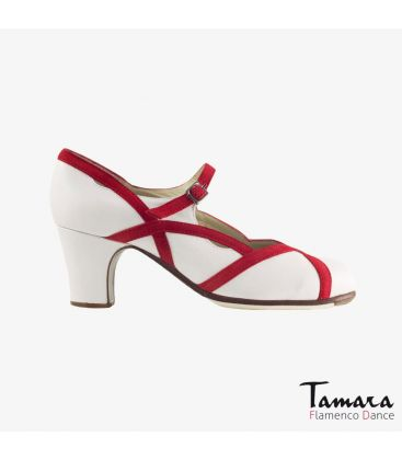 flamenco shoes professional for woman - Begoña Cervera - Arco II white leather red suede classic heel