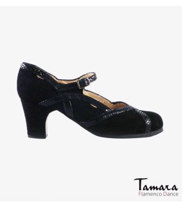 flamenco shoes professional for woman - Begoña Cervera - Arco II suede and snakeskin black classic heel