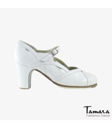 flamenco shoes professional for woman - Begoña Cervera - Arco II white leather classi 7cm heel