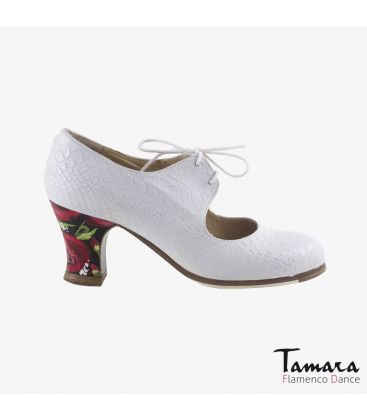 flamenco shoes professional for woman - Begoña Cervera - Arty whit snakeskin carrete painted heel