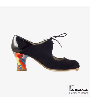 flamenco shoes professional for woman - Begoña Cervera - Arty black suede and patent leather carrete painted heel