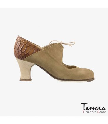 flamenco shoes professional for woman - Begoña Cervera - Arty beige suede and brown alligator carrete wood heel