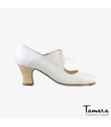 flamenco shoes professional for woman - Begoña Cervera - Arty snakeskin and leather white carrete wood heel