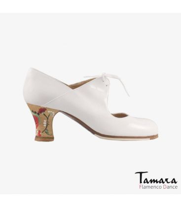 flamenco shoes professional for woman - Begoña Cervera - Arty white patent leather carrete painted heel