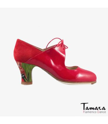 flamenco shoes professional for woman - Begoña Cervera - Arty red patent leather and suede carrete painted heel
