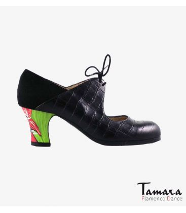 flamenco shoes professional for woman - Begoña Cervera - Arty black alligator and suede carrete painted heel