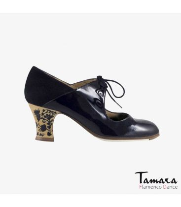 flamenco shoes professional for woman - Begoña Cervera - Arty black patent leather and suede carrete painted heel