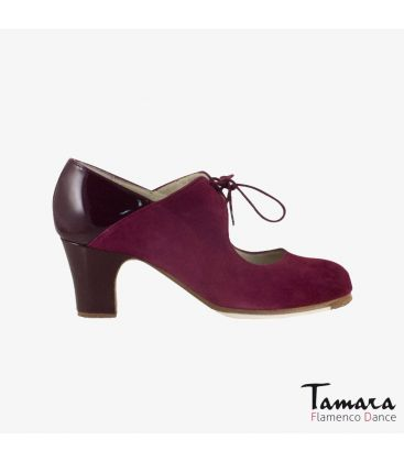 flamenco shoes professional for woman - Begoña Cervera - Arty bordeaux suede and patent leather classic heel