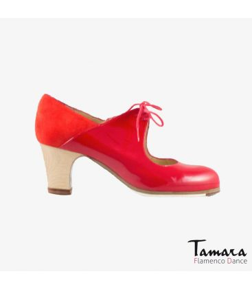 flamenco shoes professional for woman - Begoña Cervera - Arty red suede and patent leather classic wood heel