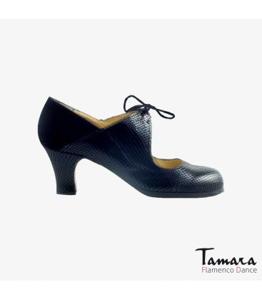 flamenco shoes professional for woman - Begoña Cervera - Arty black snakeskin and suede carrete