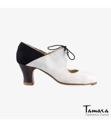 flamenco shoes professional for woman - Begoña Cervera - Arty white snakeskin and black suede carrete dark wood