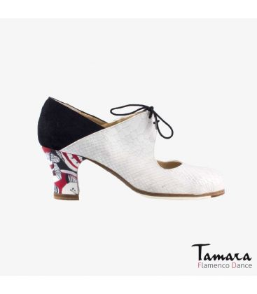 flamenco shoes professional for woman - Begoña Cervera - Arty white snakeskin and black suede carrete painted