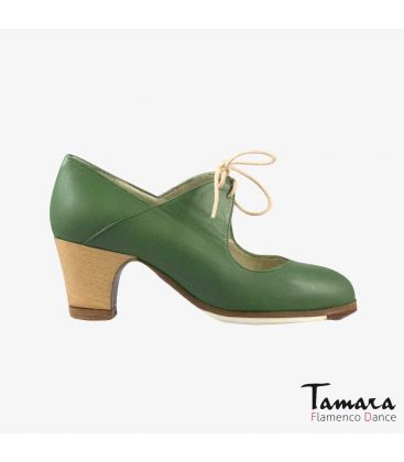 flamenco shoes professional for woman - Begoña Cervera - Arty green leather classic 5 cm wood