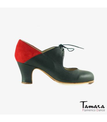flamenco shoes professional for woman - Begoña Cervera - Arty dark green leather and red suede carrete