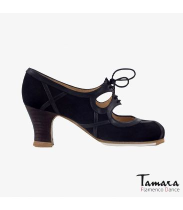 flamenco shoes professional for woman - Begoña Cervera - Barroco Cordones suede and leather black carrete dark wood