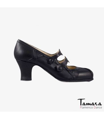 flamenco shoes professional for woman - Begoña Cervera - Barroco black leather carrete