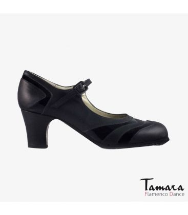 flamenco shoes professional for woman - Begoña Cervera - Bicolor black leather and patent leather classic heel