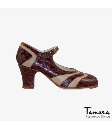 flamenco shoes professional for woman - Begoña Cervera - Bicolor brown alligator and beige leather carrete
