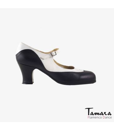 flamenco shoes professional for woman - Begoña Cervera - Binome black and white leather carrete