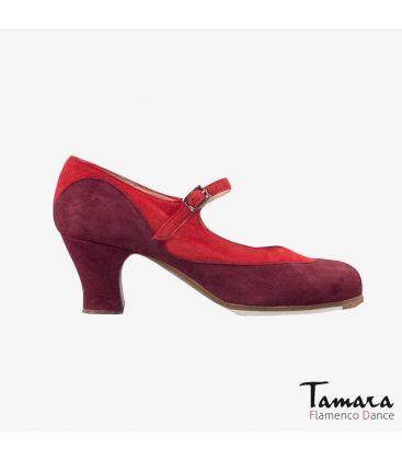 flamenco shoes professional for woman - Begoña Cervera - Binome red and bordeaux suede carrete