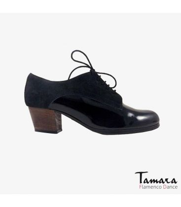 flamenco shoes professional for woman - Begoña Cervera - Butchler black patent leather suede cuabno heel
